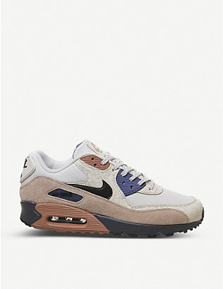 NIKE: Air Max 90 leather and textile low-top trainers