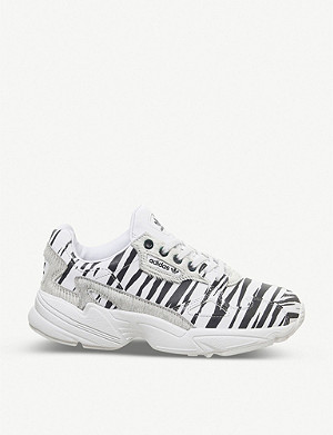 ADIDAS Falcon zebra-print leather trainers