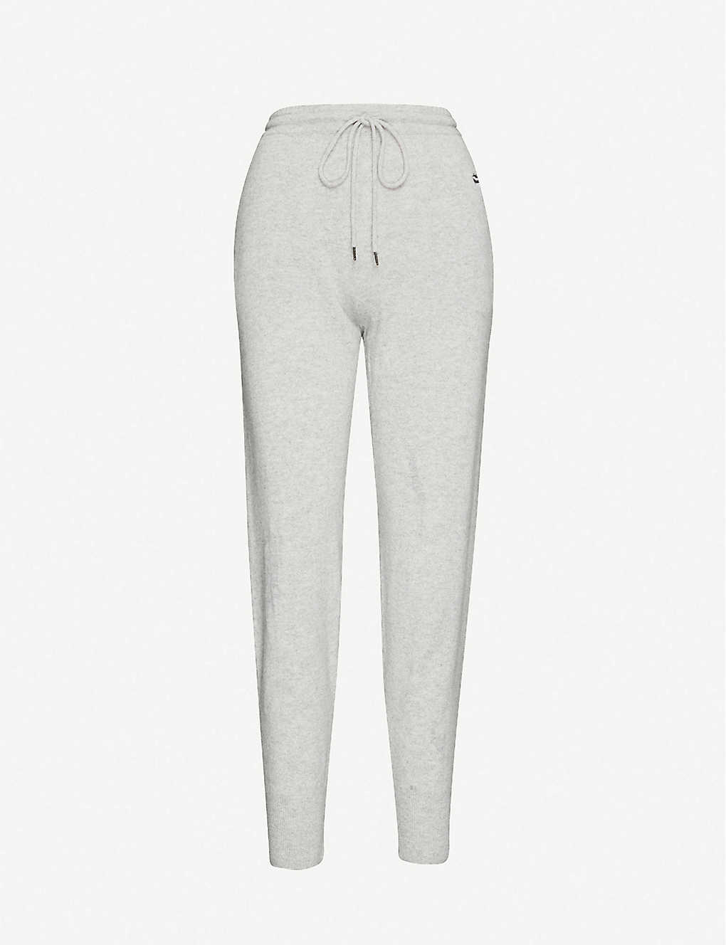 MARKUS LUPFER: Lara lip-embroidered high-rise cashmere jogging bottoms
