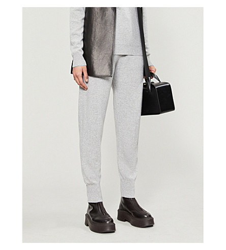 Markus Lupfer LARA LIP-EMBROIDERED HIGH-RISE CASHMERE JOGGING BOTTOMS