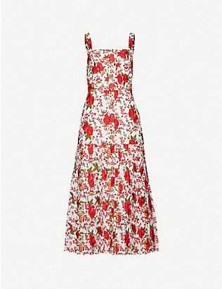 ALEXIS: Amal floral-embroidery woven midi dress