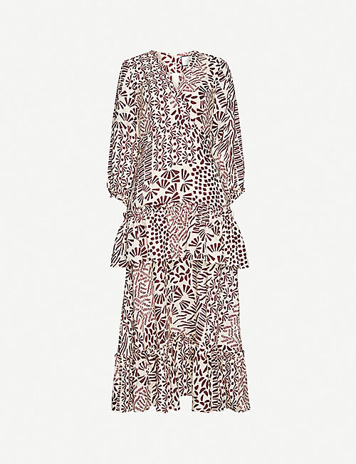 ALEXIS: Tereasa graphic-print linen midi dress