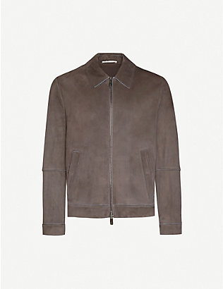 PAL ZILERI: Over-stitched suede leather jacket