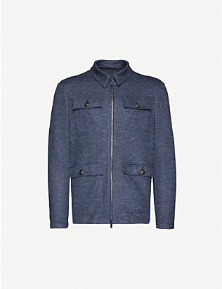 PAL ZILERI: Zipped linen and cotton-blend jacket