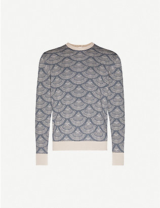 PAL ZILERI: Shell-print silk-cotton blend jumper