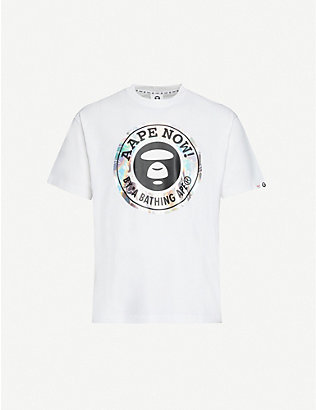 AAPE: Metallic logo-print cotton-jersey T-shirt