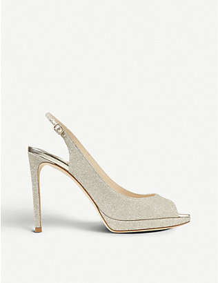 JIMMY CHOO: Nova 100 glittered peep-toe platform sandals