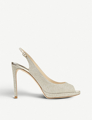 JIMMY CHOO Nova 100 glittered peep-toe platform sandals