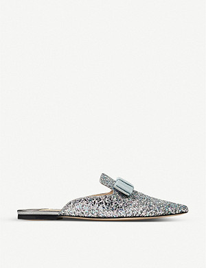 JIMMY CHOO Galaxy Flat ribbon-embellished glittered mules