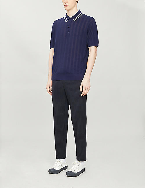 PAUL SMITH Striped cotton-knit polo shirt