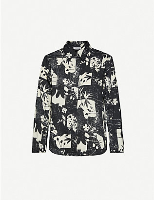 TOPSHOP: Boutique floral-print satin shirt