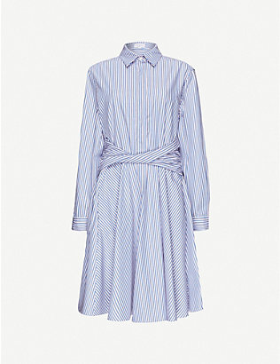 CLAUDIE PIERLOT: Rayone striped cotton mini dress