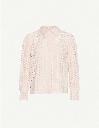 CLAUDIE PIERLOT: Embroidered cut-out pattern cotton shirt