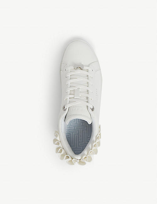 TED BAKER Astrina frilled leather tennis trainers