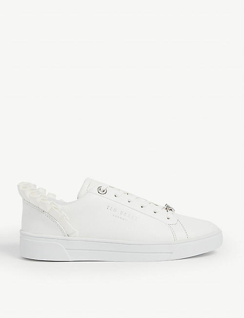 TED BAKER: Astrina frilled leather tennis trainers