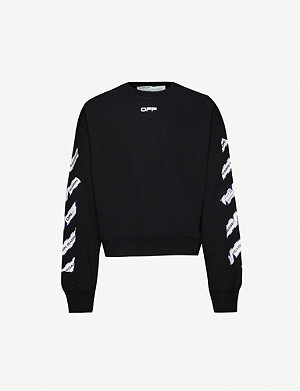 OFF-WHITE C/O VIRGIL ABLOH Airport Tape-print cotton-jersey sweatshirt