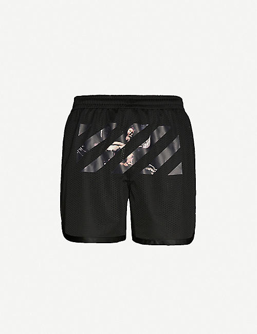 OFF-WHITE C/O VIRGIL ABLOH Graphic-tape drawstring-waistband woven shorts