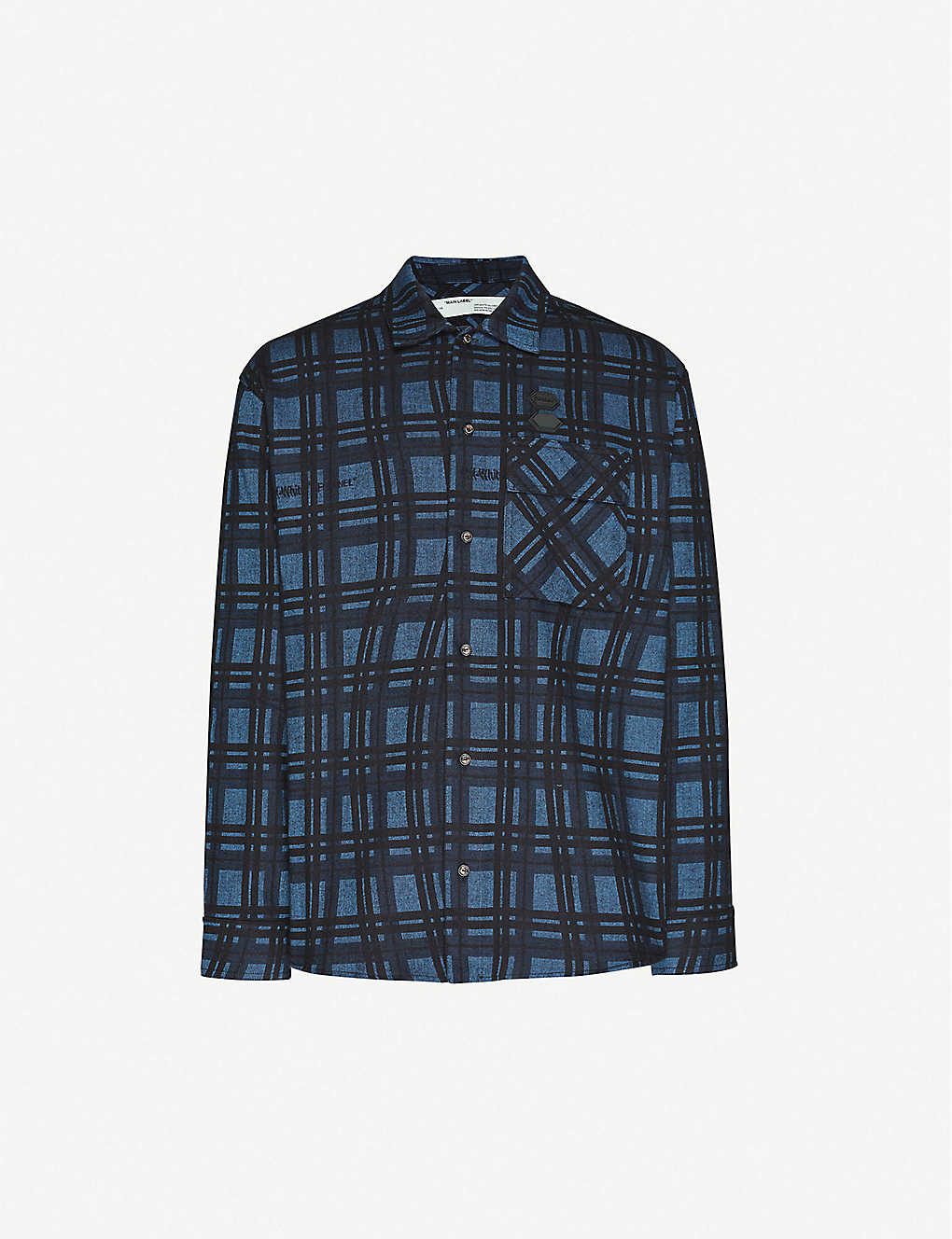 OFF-WHITE C/O VIRGIL ABLOH: Oversized check-pattern cotton-flannel shirt