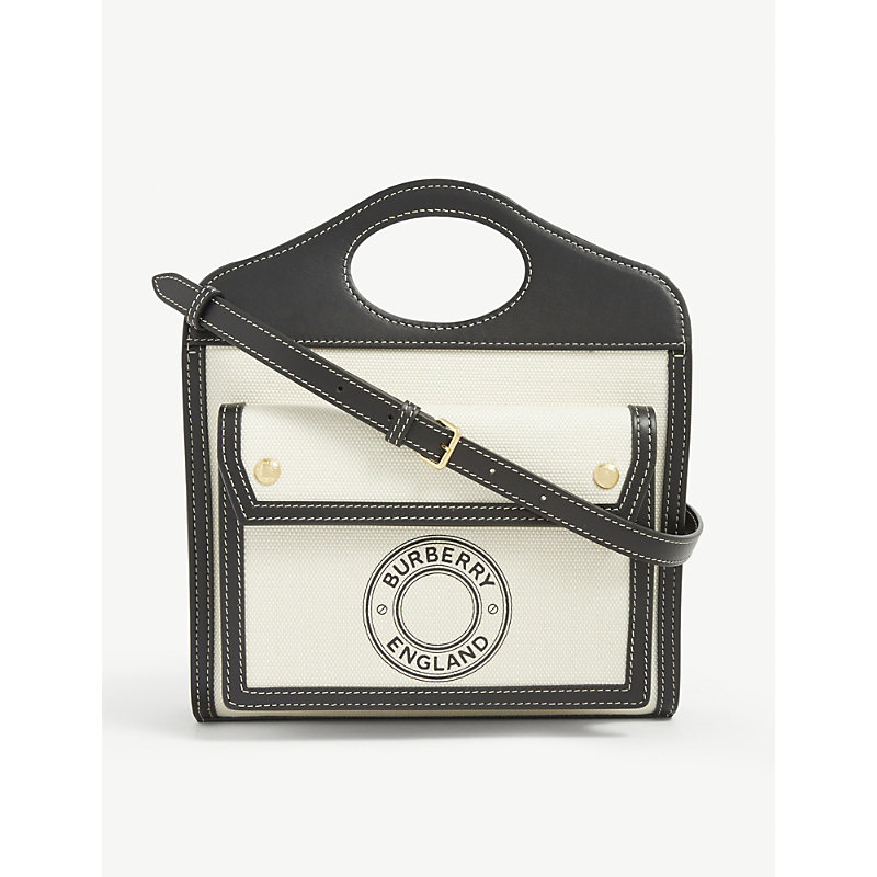 Burberry Mini Logo-print Canvas And Leather Pocket Bag In Black