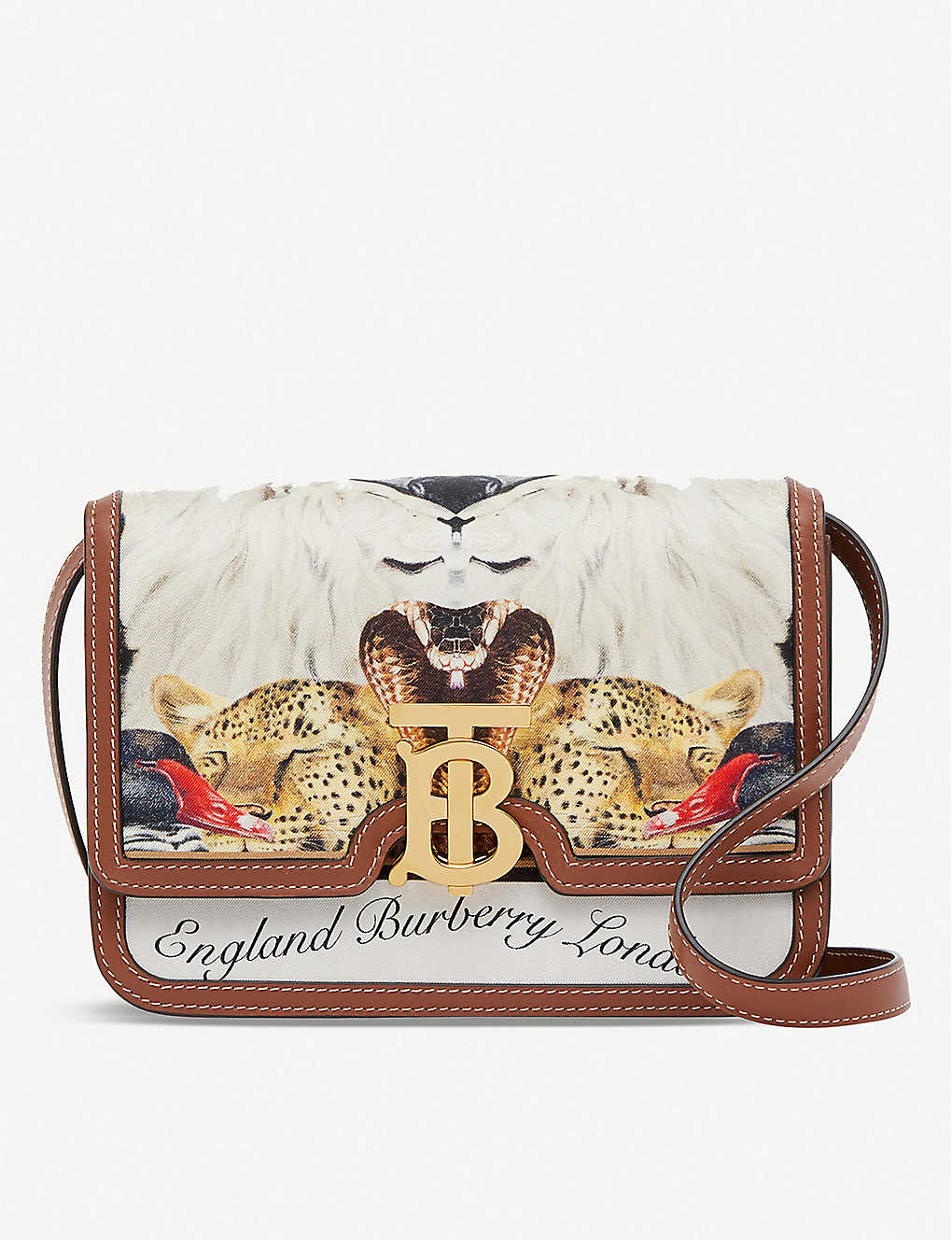 BURBERRY: TB animalia-print silk and leather cross-body bag