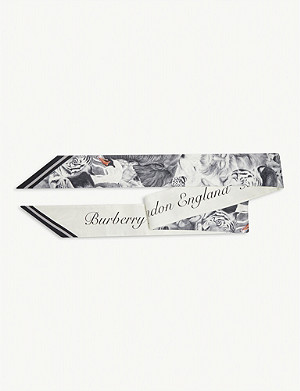 BURBERRY Animalia and logo print skinny silk scarf