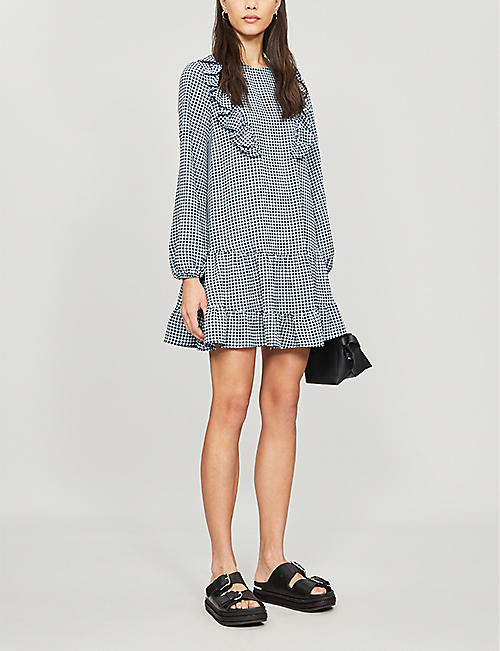TOPSHOP Checked woven mini dress