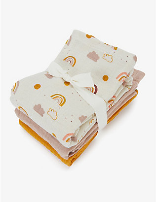 LIEWOOD: Rainbow Love organic cotton muslin cloths set of three