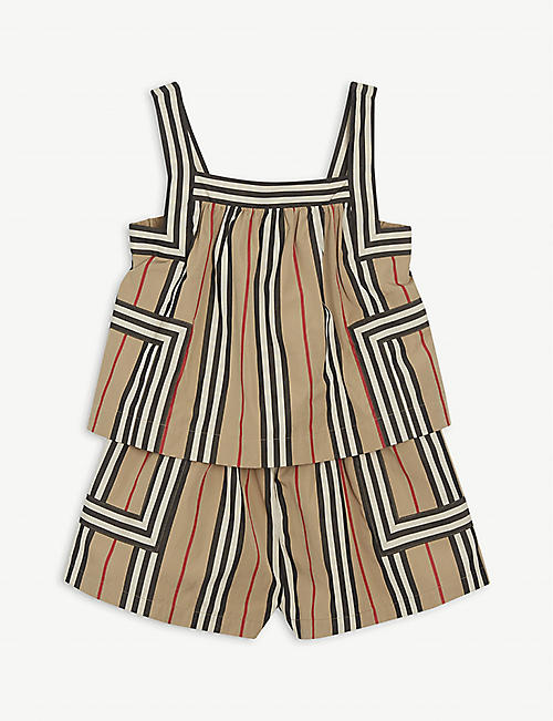 BURBERRY Florence Icon-check cotton-poplin playsuit