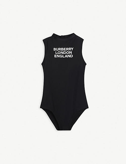 BURBERRY: Iris logo-print swimsuit 10-14 years