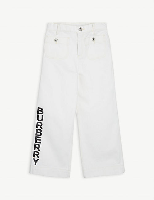 BURBERRY: Nicey logo-printed cotton denim culottes 8-14 years