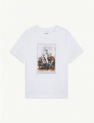 BURBERRY: Party portrait graphic print cotton T-shirt 3-14 years