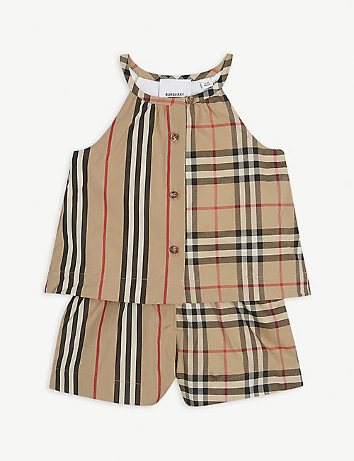 BURBERRY Check-print cotton playsuit 6-24 months
