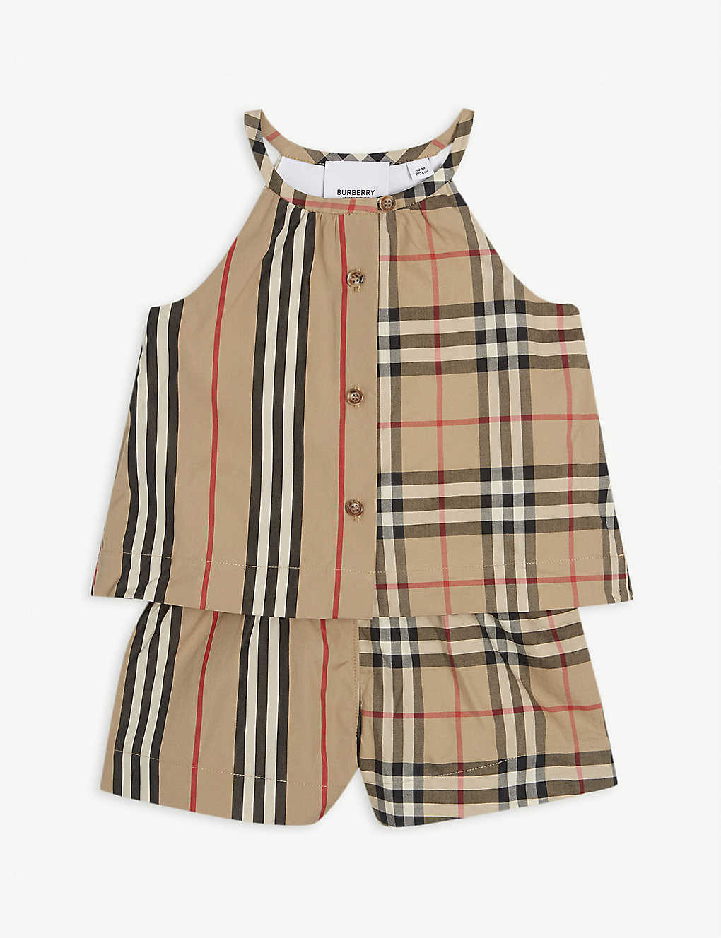 BURBERRY: Check-print cotton playsuit 6-24 months