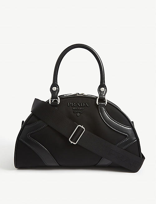 PRADA Leather and canvas bowling bag