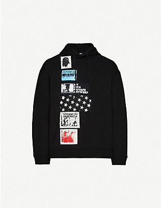 RAF SIMONS: Printed-patch dropped-shoulders cotton-jersey hoody