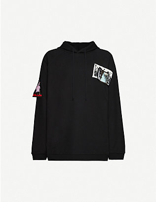 RAF SIMONS: Oversize graphic-print cotton-jersey hoody