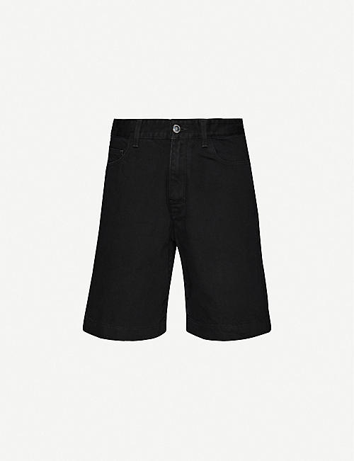 RAF SIMONS Logo-patch denim shorts