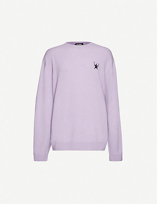 RAF SIMONS Embroidered-patch crewneck wool jumper