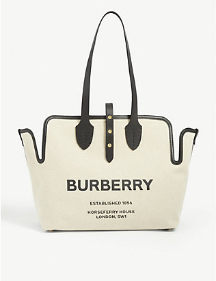 BURBERRY: Logo-print cotton-canvas tote bag