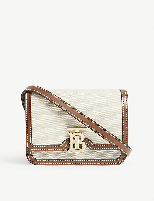 BURBERRY: TB mini canvas shoulder bag