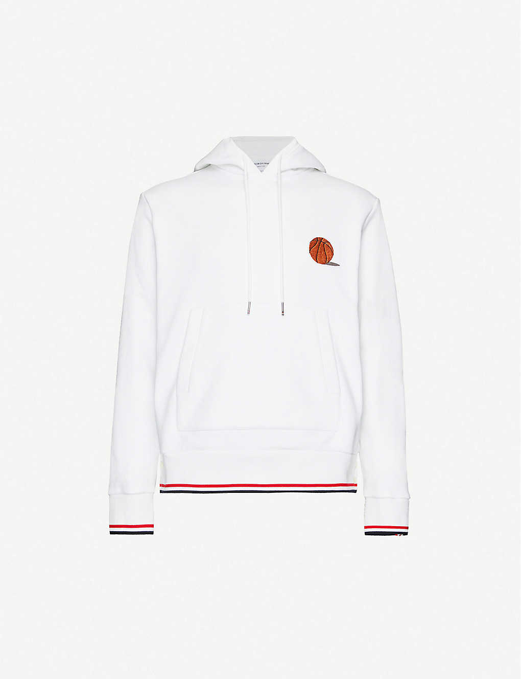 THOM BROWNE: Basketball-embroidered cotton-jersey hoody