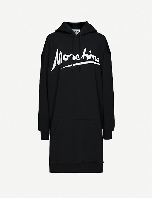 MOSCHINO Logo-print hooded stretch-cotton mini dress