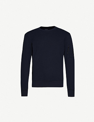 CP COMPANY Lens-embellished crewneck cotton-jersey sweatshirt