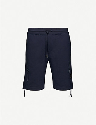 CP COMPANY: Lens-embellished cotton-jersey shorts