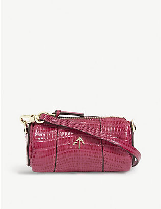 MANU ATELIER: Cylinder mini lizard-embossed leather shoulder bag
