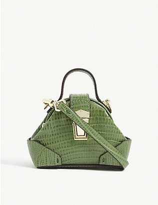 MANU ATELIER: Demi domed lizard-embossed leather micro bag