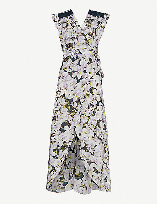 HAPPY X NATURE Floral-print ruffle-trimmed crepe wrap maxi dress