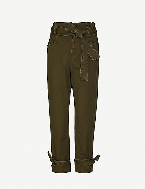 HAPPY X NATURE: Amelia paperbag waist high-rise tapered stretch-twill trousers