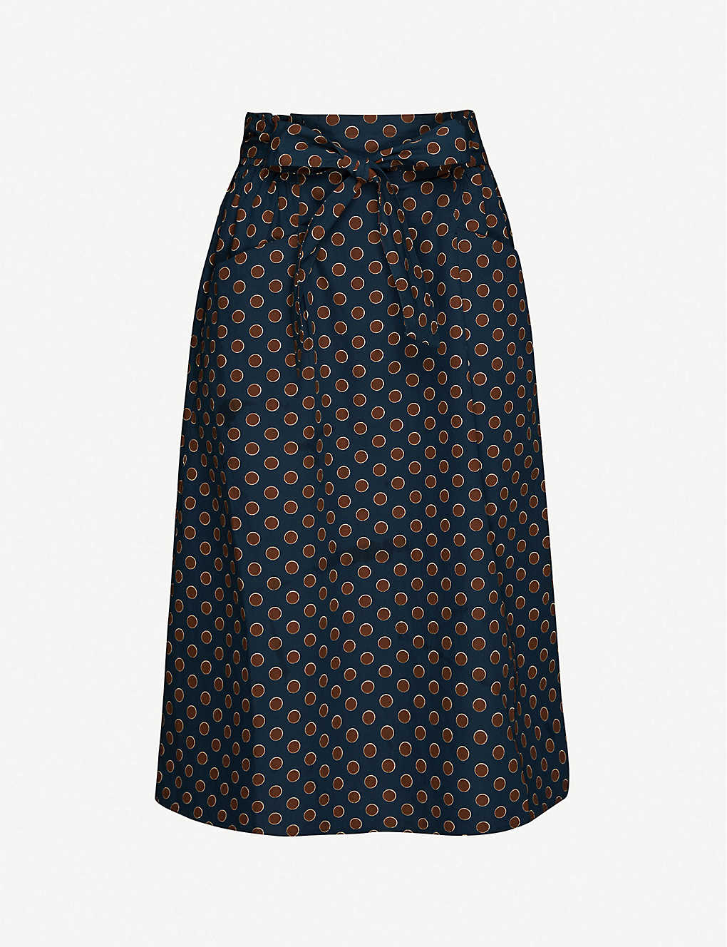 HAPPY X NATURE: Bay spot-print cotton-poplin midi skirt