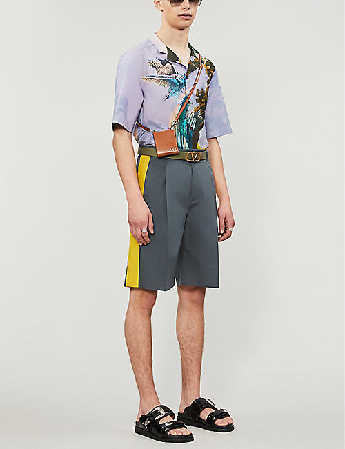 VALENTINO Contrast-panel cotton-blend shorts